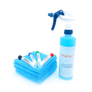 Dry-erase wall cleaner marker micro starter set