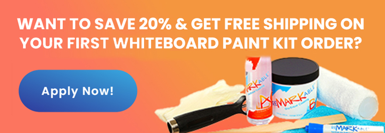 Want to save 20% and get free shipping on your whiteboard paint kit order?